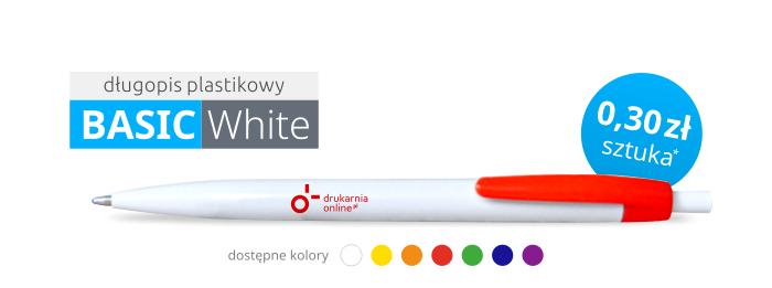 Długopis plastikowy BASIC WHITE